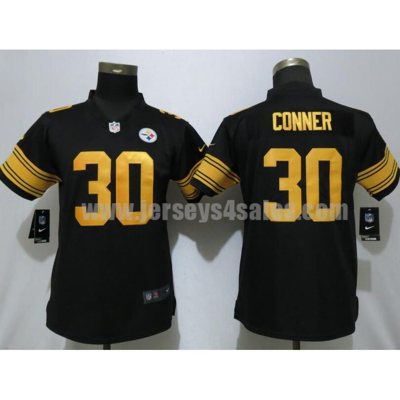 Women's Pittsburgh Steelers #30 James Conner Black Color Rush Elite Jersey