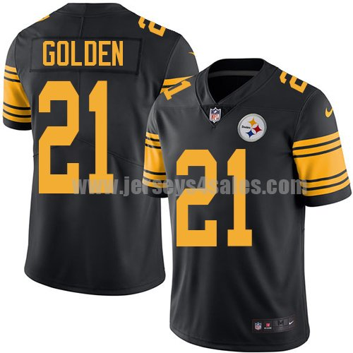 Men's Pittsburgh Steelers #21 Robert Golden Black Stitched Nike NFL Color Rush Limited Jersey