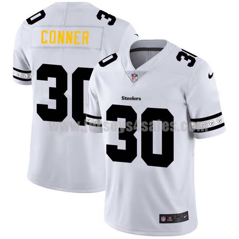 Men's Pittsburgh Steelers #30 James Conner White NFL Team Logo Cool Edition Jerseys