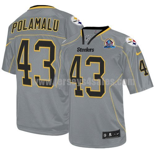 Nike Steelers #43 Troy Polamalu Lights Out Grey With Hall of Fame 50th Patch Men's Stitched NFL Elite Jersey