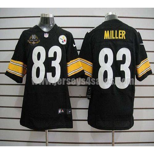 Nike Steelers #83 Heath Miller Black Team Color With 80TH Patch Men's Stitched NFL Elite Jersey