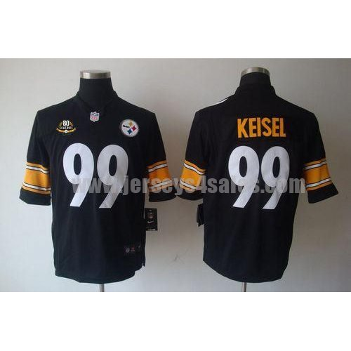 Nike Steelers #99 Brett Keisel Black Team Color With 80TH Patch Men's Stitched NFL Limited Jersey