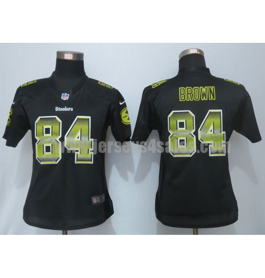 Women's Pittsburgh Steelers #84 Antonio Brown Black Team Color Stitched Strobe Nike NFL Elite Jersey