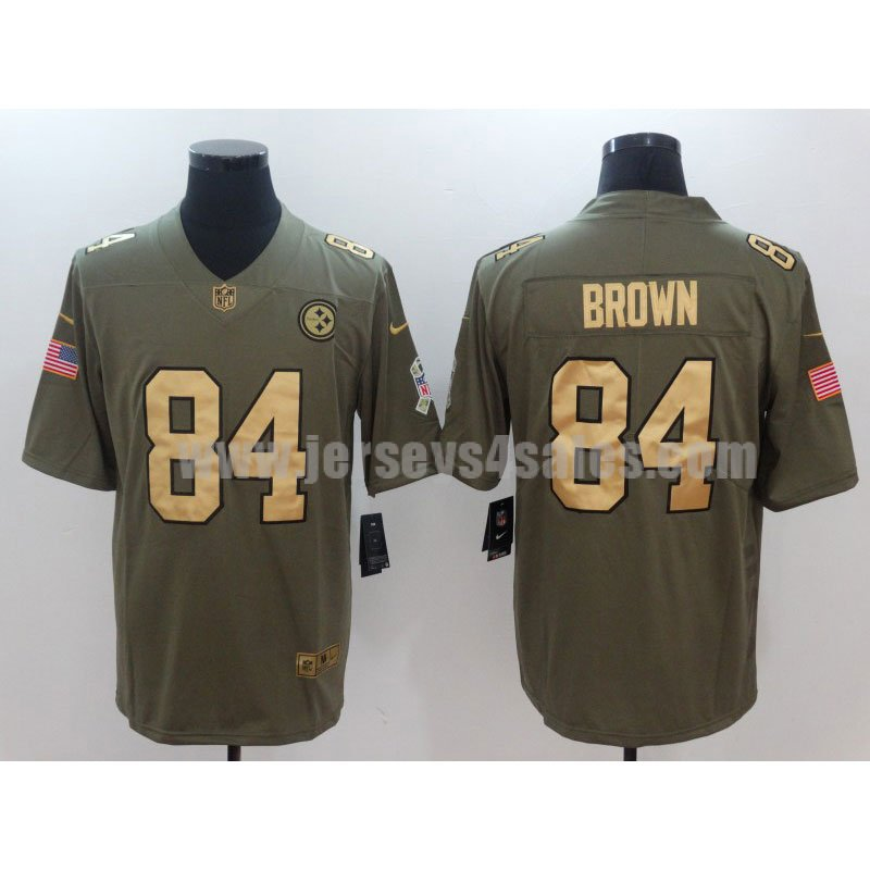 Men's Pittsburgh Steelers #84 Antonio Brown Olive Nike NFL Gold Collection 2017 Salute To Service Limited Jersey