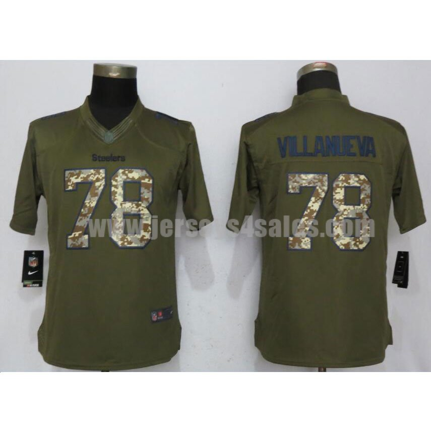 Women's Pittsburgh Steelers #78 Alejandro Villanueva Olive Stitched Nike NFL Salute To Service Limited Jersey