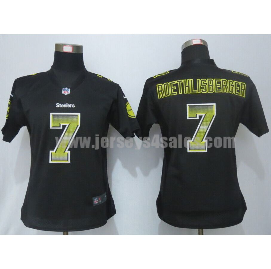 Women's Pittsburgh Steelers #7 Ben Roethlisberger Black Team Color Stitched Strobe Nike NFL Elite Jersey