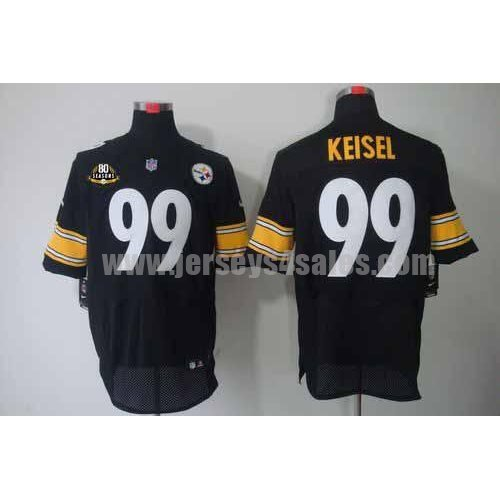 Nike Steelers #99 Brett Keisel Black Team Color With 80TH Patch Men's Stitched NFL Elite Jersey
