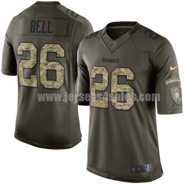 Youth Pittsburgh Steelers #26 Le'Veon Bell Green Stitched Nike NFL Salute To Service Elite Jersey