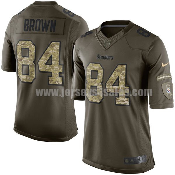 Men's Pittsburgh Steelers #84 Antonio Brown Green Stitched Nike NFL Salute To Service Limited Jersey