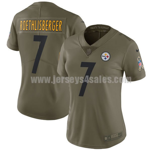 Women's Pittsburgh Steelers #7 Ben Roethlisberger Olive Nike NFL 2017 Salute To Service Limited Jersey