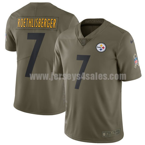 Men's Pittsburgh Steelers #7 Ben Roethlisberger Olive Nike NFL 2017 Salute To Service Limited Jersey