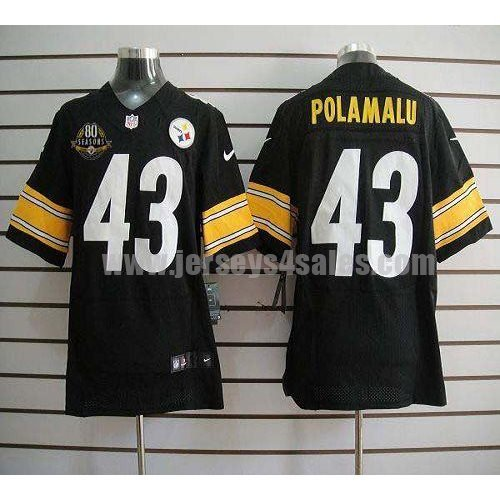 Nike Steelers #43 Troy Polamalu Black Team Color With 80TH Patch Men's Stitched NFL Elite Jersey