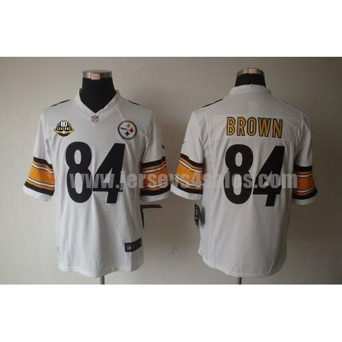 Nike Steelers #84 Antonio Brown White With 80TH Patch Men's Stitched NFL Limited Jersey