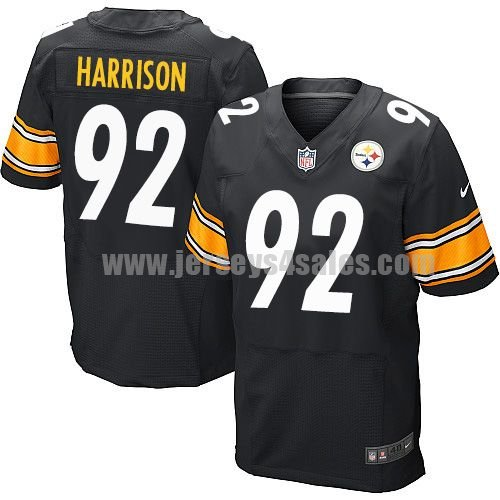 Men's Pittsburgh Steelers #92 James Harrison Black Stitched Nike NFL Home Elite Jersey