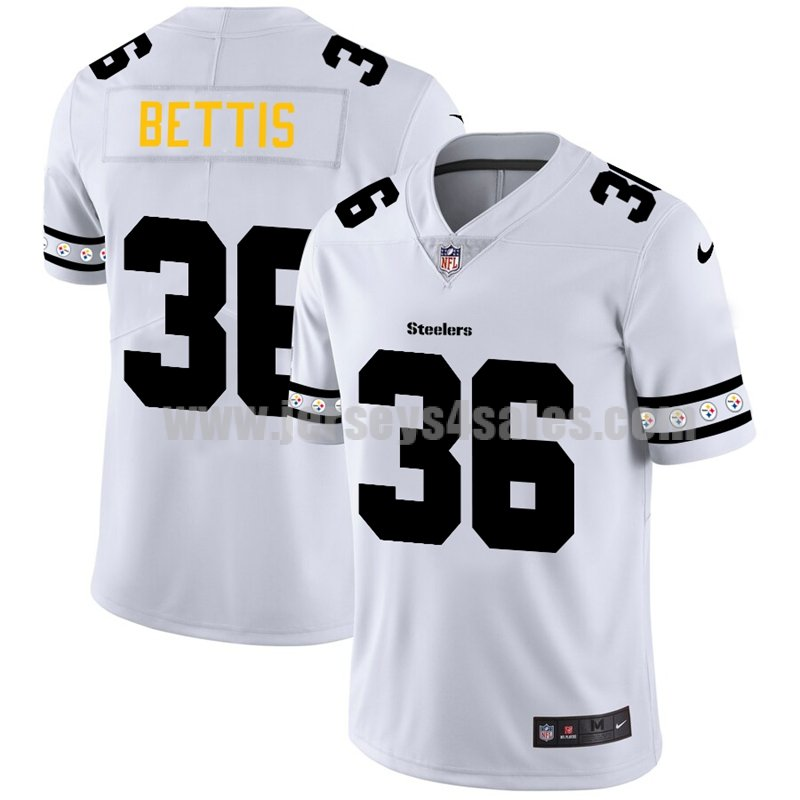 Men's Pittsburgh Steelers #36 Jerome Bettis White NFL Team Logo Cool Edition Jerseys