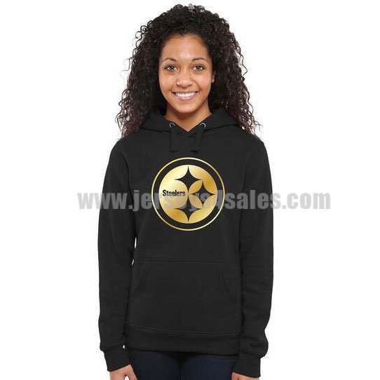 Women's Pittsburgh Steelers Pro Line Black Gold Collection Pullover NFL Hoodie