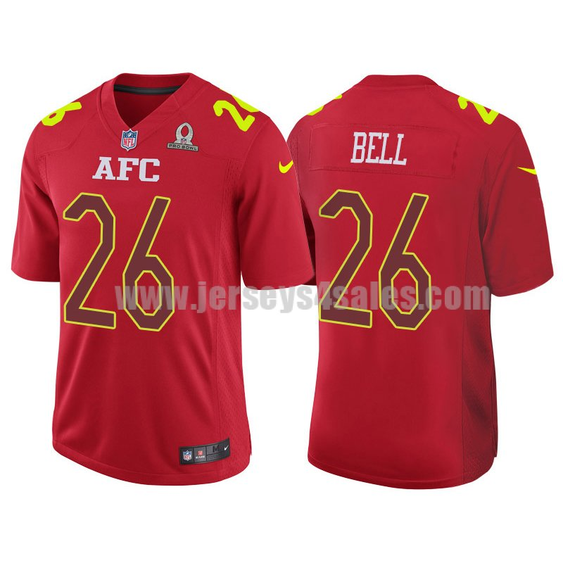 Men's Pittsburgh Steelers #26 Le'Veon Bell Red Stitched Nike NFL 2017 Pro Bowl AFC Game Jersey