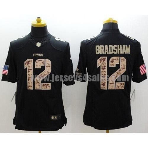 Nike Steelers #12 Terry Bradshaw Black Men's Stitched NFL Limited Salute to Service Jersey
