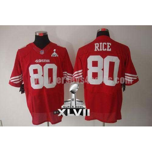 Nike 49ers #80 Jerry Rice Red Team Color Super Bowl XLVII Men's Stitched NFL Elite Jersey
