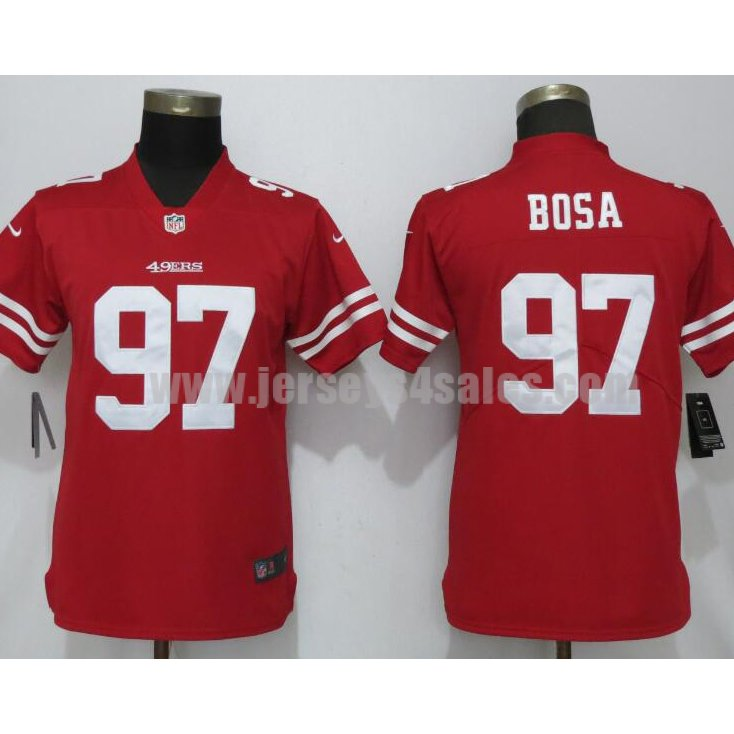 Women's Nike San Francisco 49ers #97 Nick Bosa Red Vapor Untouchable Elite Player Jersey