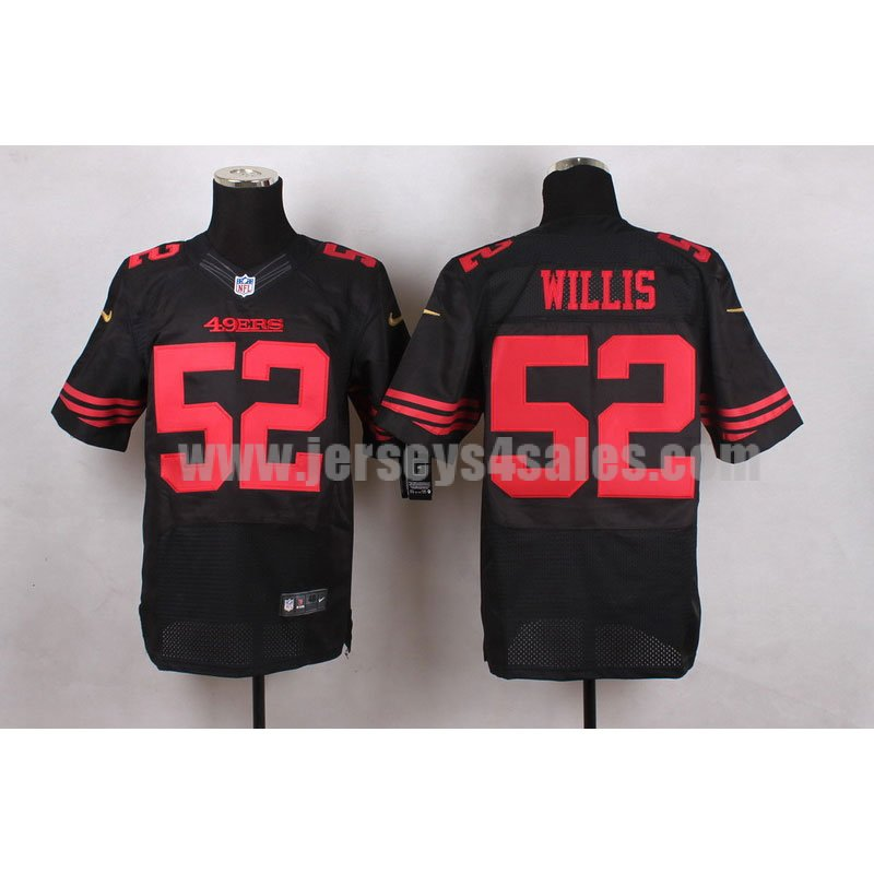 Men's San Francisco 49ers #52 Patrick Willis Black Alternate Nike Stitched Retired Player NFL Elite Jersey