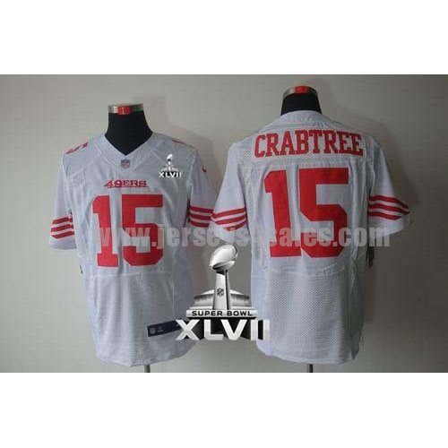 Nike 49ers #15 Michael Crabtree White Super Bowl XLVII Men's Stitched NFL Elite Jersey