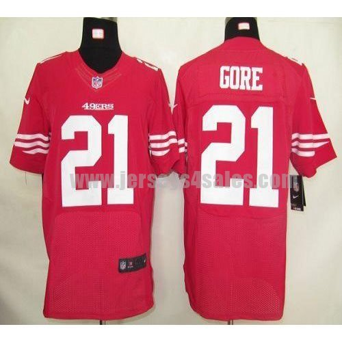 Nike 49ers #21 Frank Gore Red Team Color Men's Stitched NFL Elite Jersey
