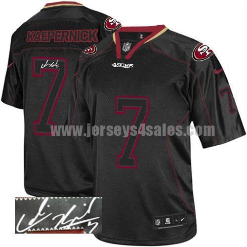 Nike 49ers #7 Colin Kaepernick Lights Out Black Men's Stitched NFL Elite Autographed Jersey