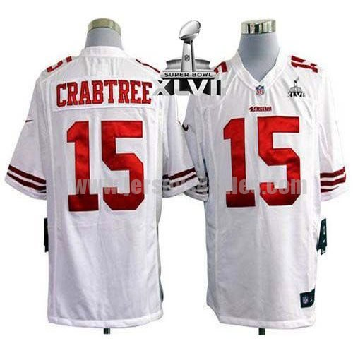 Nike 49ers #15 Michael Crabtree White Super Bowl XLVII Men's Stitched NFL Game Jersey