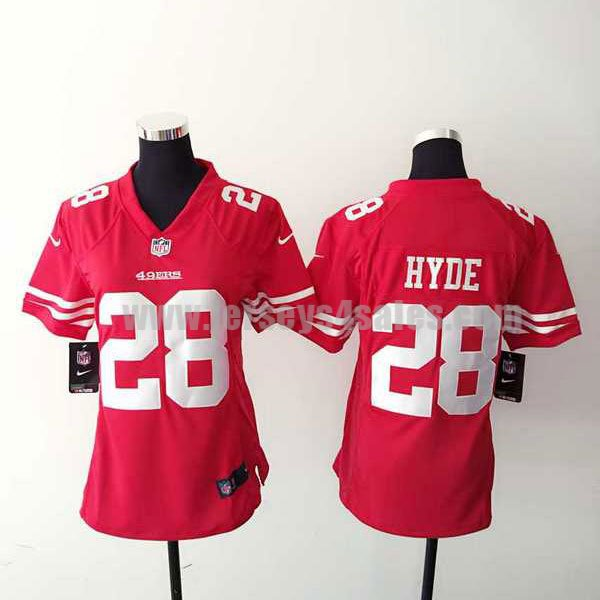 Women's San Francisco 49ers #28 Carlos Hyde Red Stitched Nike NFL Home Elite Jersey