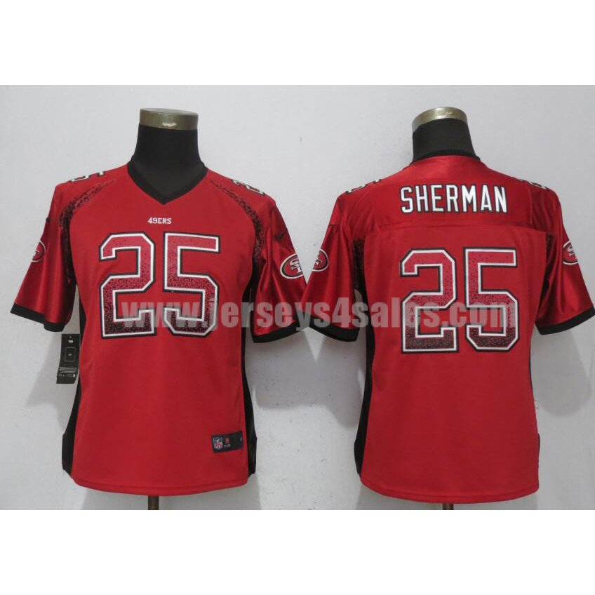Women's San Francisco 49ers #25 Richard Sherman Red Nike NFL Drift Fashion Elite Jersey