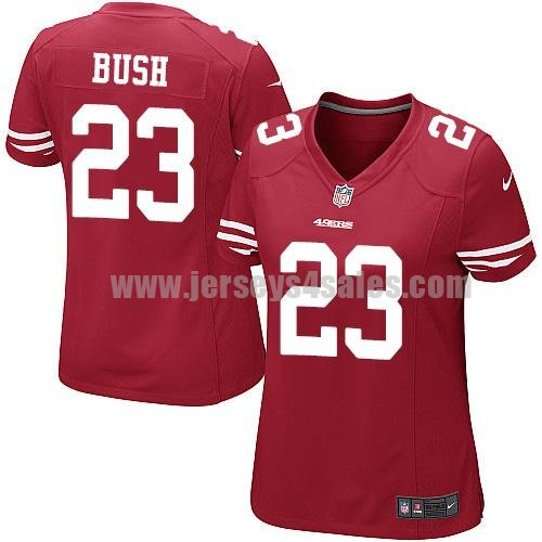 Women's San Francisco 49ers #23 Reggie Bush Red Stitched Nike NFL Home Elite Jersey