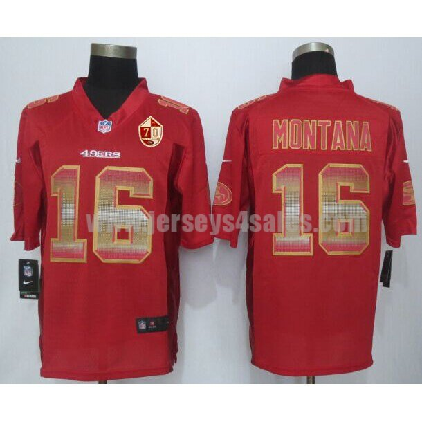 Men's San Francisco 49ers #16 Joe Montana Red Stitched 70TH Anniversary Nike NFL Strobe Limited Jersey