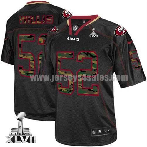 Nike 49ers #52 Patrick Willis Black Super Bowl XLVII Men's Stitched NFL Elite Camo Fashion Jersey