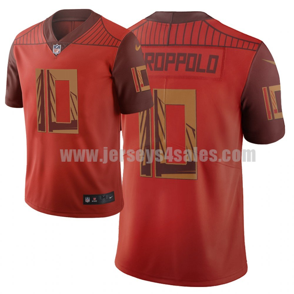 Men's San Francisco 49ers #10 Jimmy Garoppolo NFL City Edition Orange Jersey