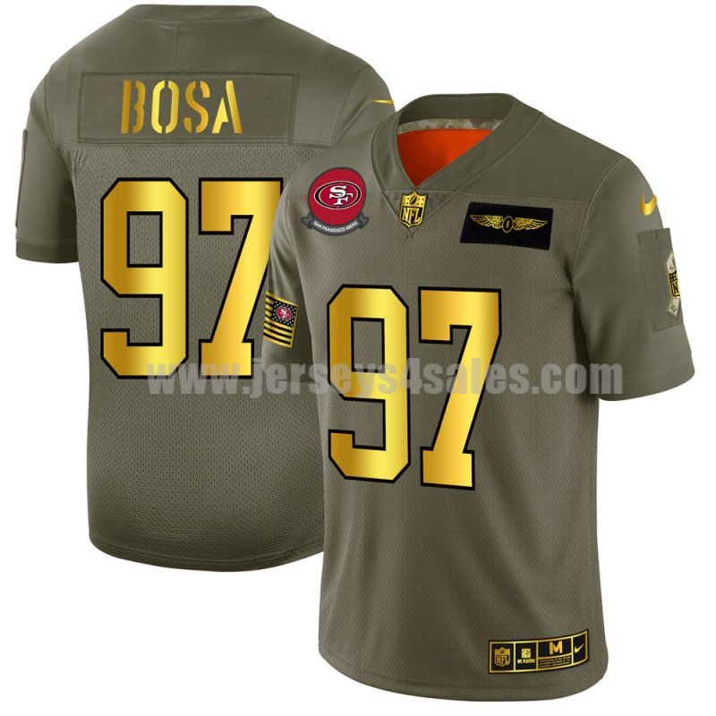 Men's San Francisco 49ers #97 Nick Bosa Nike Olive/Gold 2019 Salute to Service Limited Jersey