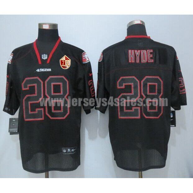 Men's San Francisco 49ers #28 Carlos Hyde Black Stitched 70TH Anniversary Nike NFL Lights Out Elite Jersey