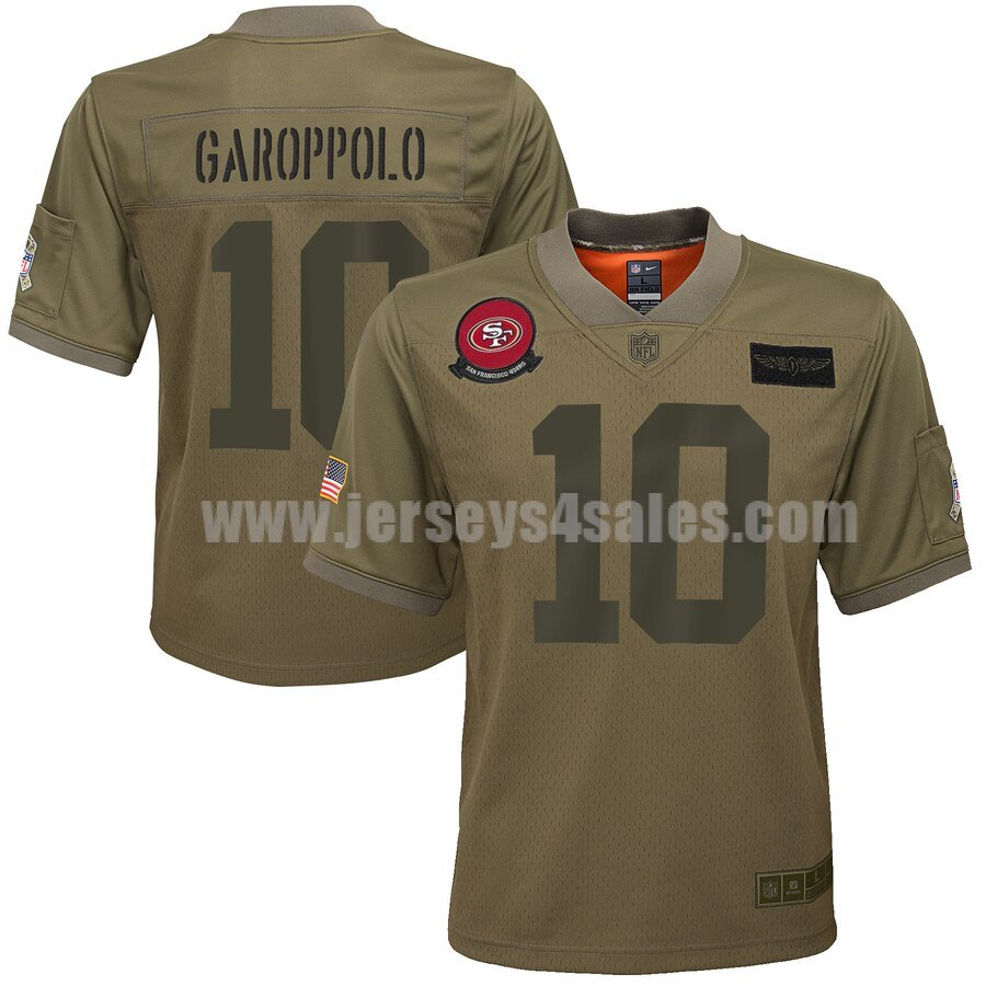Youth San Francisco 49ers #10 Jimmy Garoppolo Nike Camo 2019 Salute to Service Game Jersey