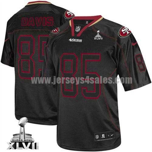 Nike 49ers #85 Vernon Davis Lights Out Black Super Bowl XLVII Men's Stitched NFL Elite Jersey
