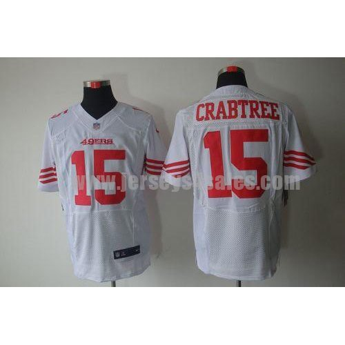Nike 49ers #15 Michael Crabtree White Men's Stitched NFL Elite Jersey