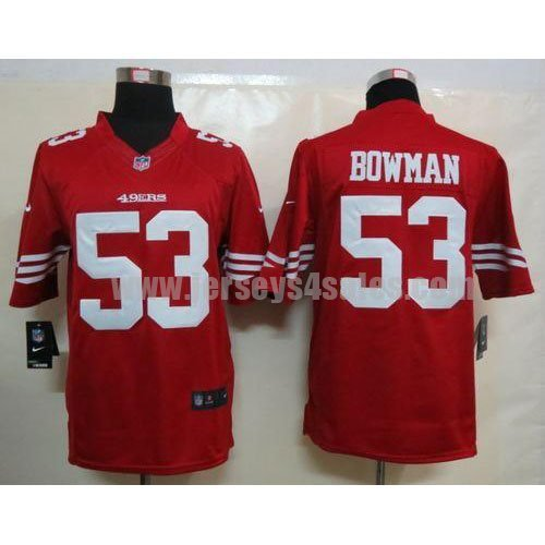 Nike 49ers #53 NaVorro Bowman Red Team Color Men's Stitched NFL Limited Jersey