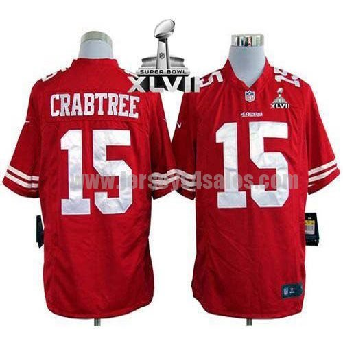 Nike 49ers #15 Michael Crabtree Red Team Color Super Bowl XLVII Men's Stitched NFL Game Jersey