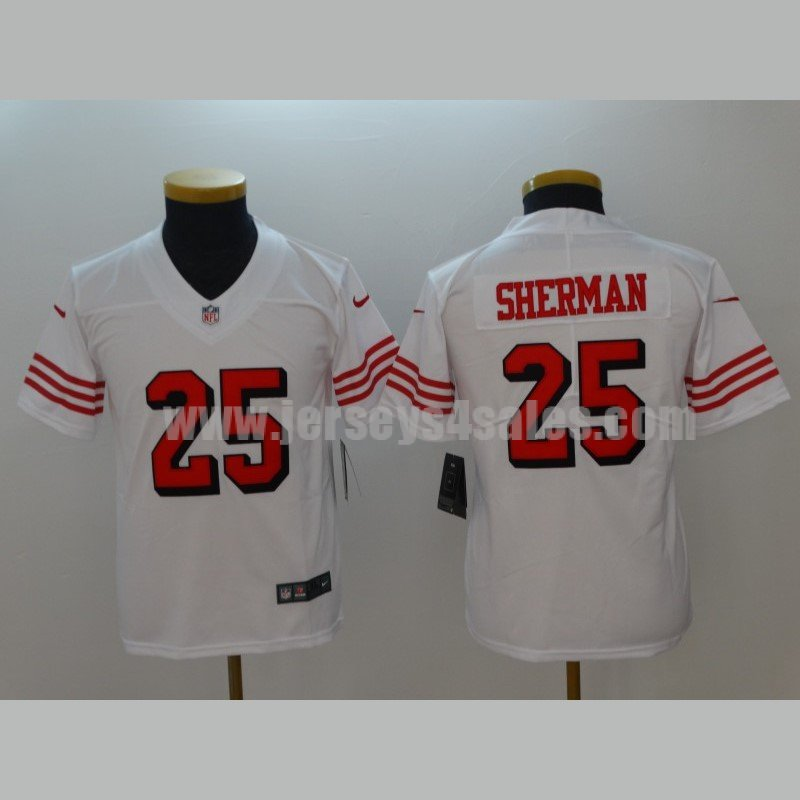 Limited Youth Richard Sherman White Jersey: NFL Nike San Francisco 49ers #25 Rush Vapor Untouchable