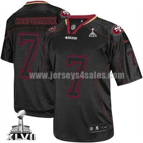 Nike 49ers #7 Colin Kaepernick Lights Out Black Super Bowl XLVII Men's Stitched NFL Elite Jersey
