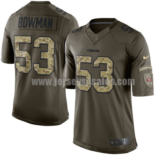 Youth San Francisco 49ers #53 NaVorro Bowman Green Stitched Nike NFL Salute To Service Elite Jersey