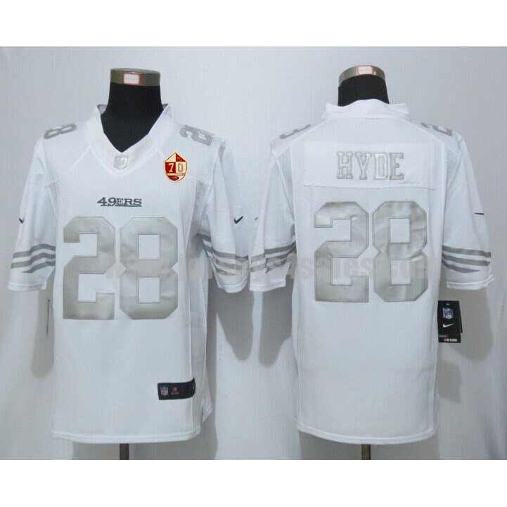 Men's San Francisco 49ers #28 Carlos Hyde White Stitched 70TH Anniversary Nike NFL Platinum Limited Jersey