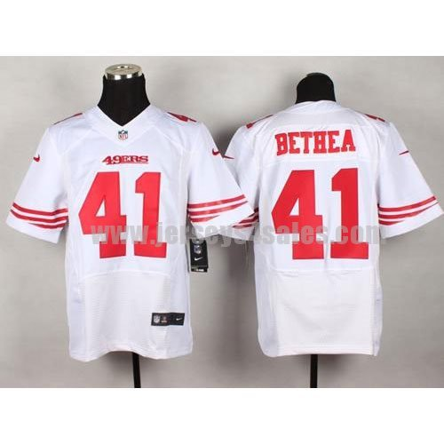 Nike 49ers #41 Antoine Bethea White Men's Stitched NFL Elite Jersey