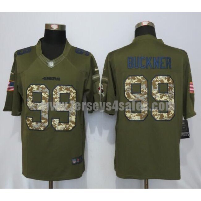 Men's San Francisco 49ers #99 DeForest Buckner Green Stitched Nike NFL Salute To Service Limited Jersey