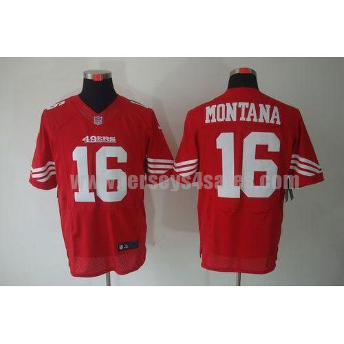 Nike 49ers #16 Joe Montana Red Team Color Men's Stitched NFL Elite Jersey