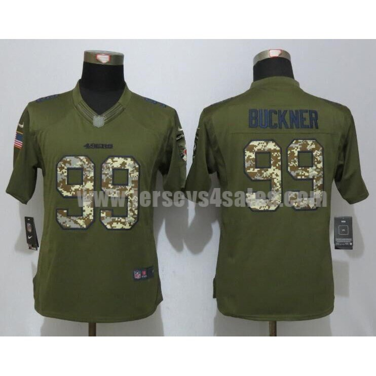 Women's San Francisco 49ers #99 DeForest Buckner Green Stitched Nike NFL Salute To Service Limited Jersey